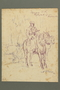 Drawing by Alexander Bogen of a partisan on a horse