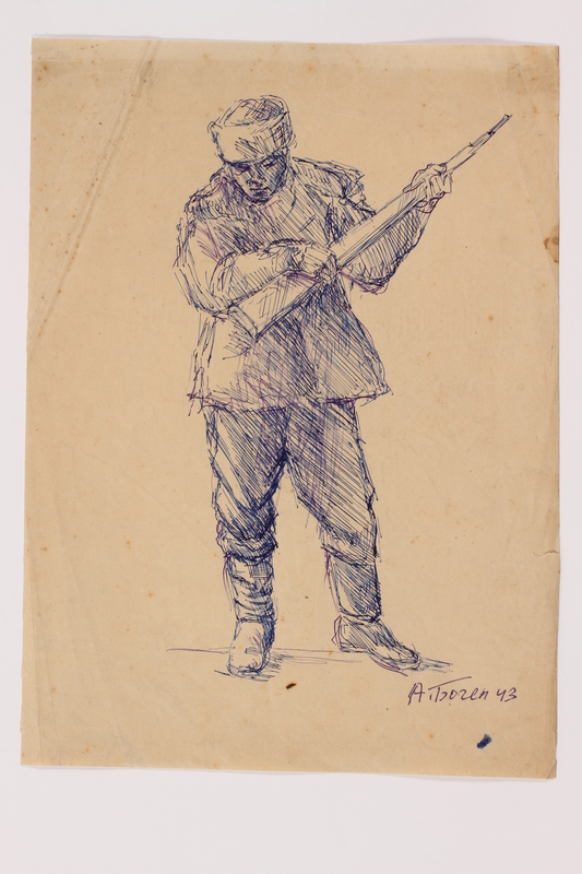 2005.181.61 front Drawing by Alexander Bogen of a partisan standing with a rifle