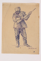 2005.181.61 front Drawing by Alexander Bogen of a partisan standing with a rifle  Click to enlarge