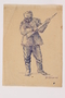 Drawing by Alexander Bogen of a partisan standing with a rifle