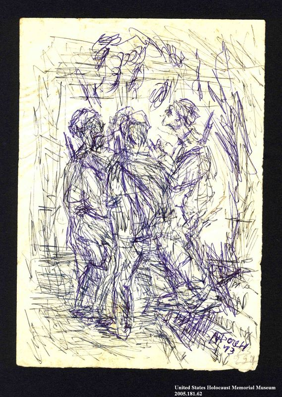 2005.181.62 front Drawing by Alexander Bogen of four partisans standing together in the woods
