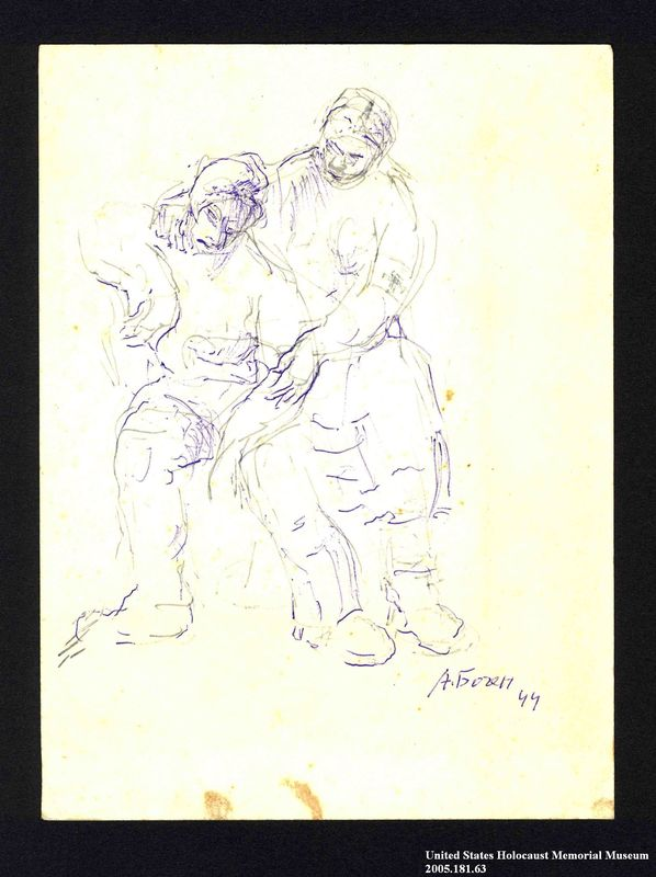 2005.181.63 front Drawing by Alexander Bogen of a standing person holding and comforting a seated person