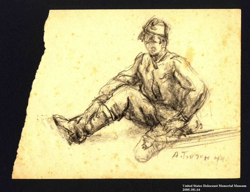 2005.181.64 front Drawing by Alexander Bogen of a partisan with an amputated left leg