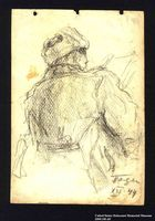 2005.181.65 front Drawing by Alexander Bogen of a partisan sitting and reading  Click to enlarge