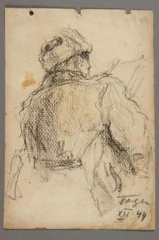 2005.181.65 front Drawing by Alexander Bogen of a partisan sitting and reading