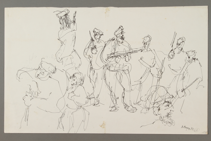 2005.181.66 front Drawing by Alexander Bogen of nine partisans in a group