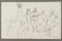 2005.181.66 front Drawing by Alexander Bogen of nine partisans in a group  Click to enlarge