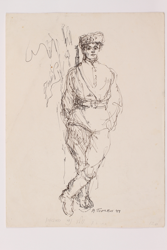 2005.181.67 front Drawing by Alexander Bogen of a partisan leaning against a tree with his hands in his pockets
