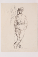 2005.181.67 front Drawing by Alexander Bogen of a partisan leaning against a tree with his hands in his pockets  Click to enlarge
