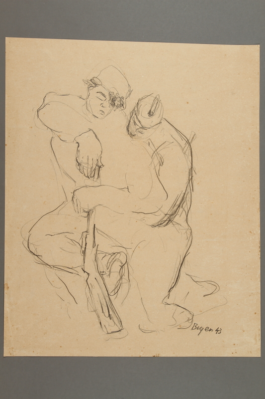 2005.181.68 front Drawing by Alexander Bogen of two partisans sleeping, one leaning on a rifle