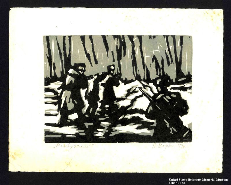 2005.181.70 front Woodcut by Alexander Bogen of two armed partisans marching in line with an unarmed man between them