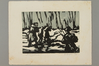 2005.181.70 front Woodcut by Alexander Bogen of two armed partisans marching in line with an unarmed man between them  Click to enlarge