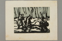 Woodcut by Alexander Bogen of two armed partisans marching in line with an unarmed man between them