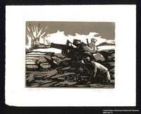 2005.181.71 front Woodcut by Alexander Bogen of three partisans firing a cannon  Click to enlarge