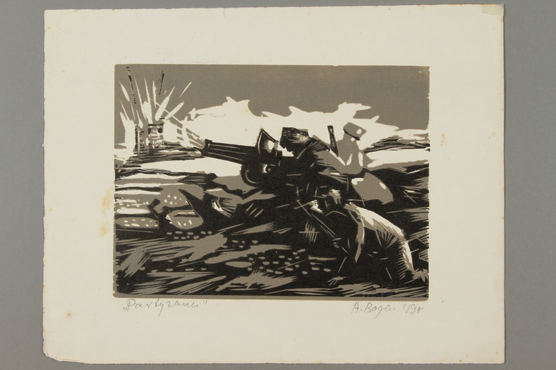 2005.181.71 front Woodcut by Alexander Bogen of three partisans firing a cannon