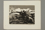 Woodcut by Alexander Bogen of three partisans firing a cannon