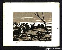 2005.181.72 front Woodcut by Alexander Bogen of five armed partisans walking in single file through rough terrain  Click to enlarge