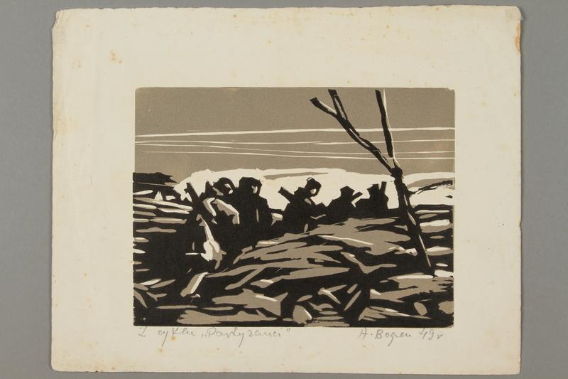 2005.181.72 front Woodcut by Alexander Bogen of five armed partisans walking in single file through rough terrain