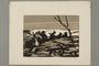 Woodcut by Alexander Bogen of five armed partisans walking in single file through rough terrain