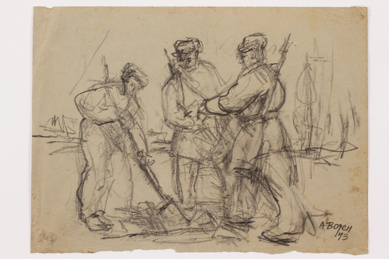 2005.181.73 front Drawing by Alexander Bogen of a partisan digging with a shovel while two more partisans watch
