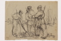 Drawing by Alexander Bogen of a partisan digging with a shovel while two more partisans watch