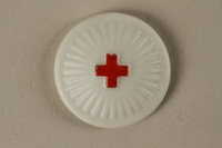 2005.367.24 front White pin with a red cross  Click to enlarge