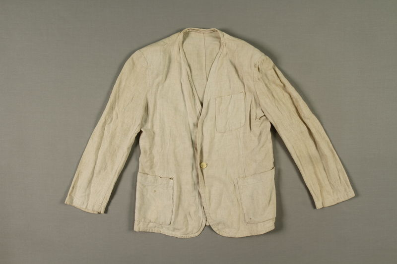 2005.369.1 front Man's long-sleeved linen jacket made in a displaced person's camp