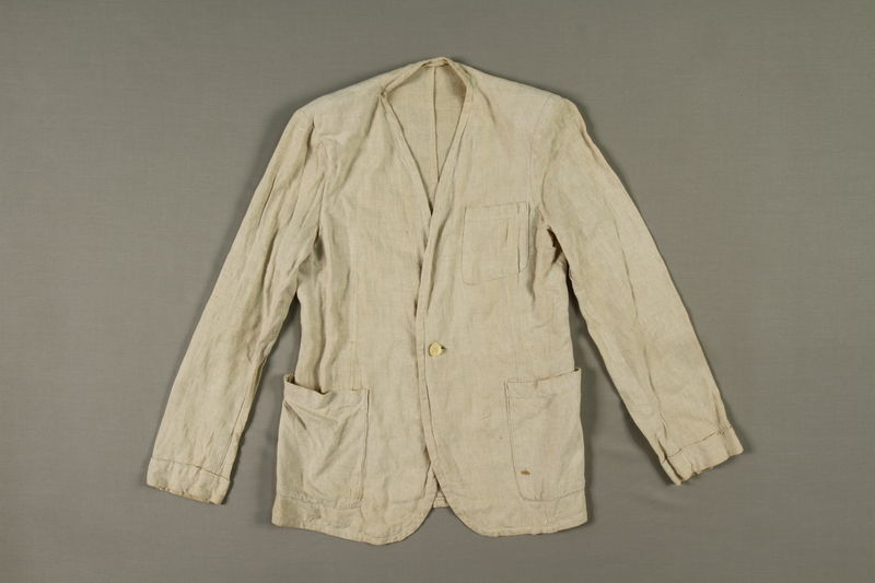 2005.369.2 front Man's long-sleeved linen jacket made in a displaced person's camp