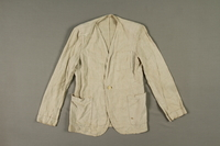 2005.369.2 front Man's long-sleeved linen jacket made in a displaced person's camp  Click to enlarge