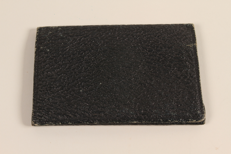 2005.379.6 front Blue leather billfold used by a Latvian Jewish refugee and aid worker from Nazi Germany