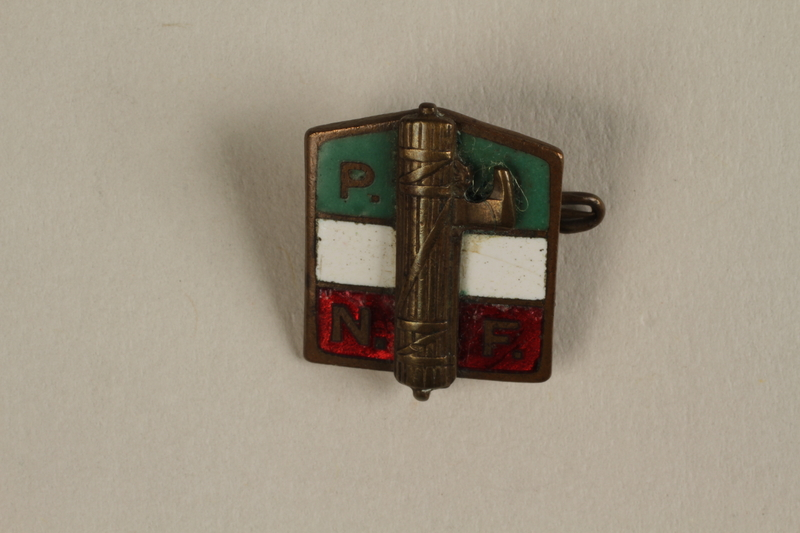2005.379.7 front National Fascist Party of Italy (PNF) membership badge owned by Jewish female refugee from Nazi Germany