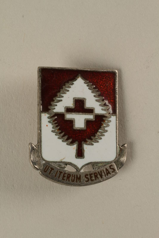 2005.416.11 front Sterling US 46th Medical Battalion pin that belonged to a US medic