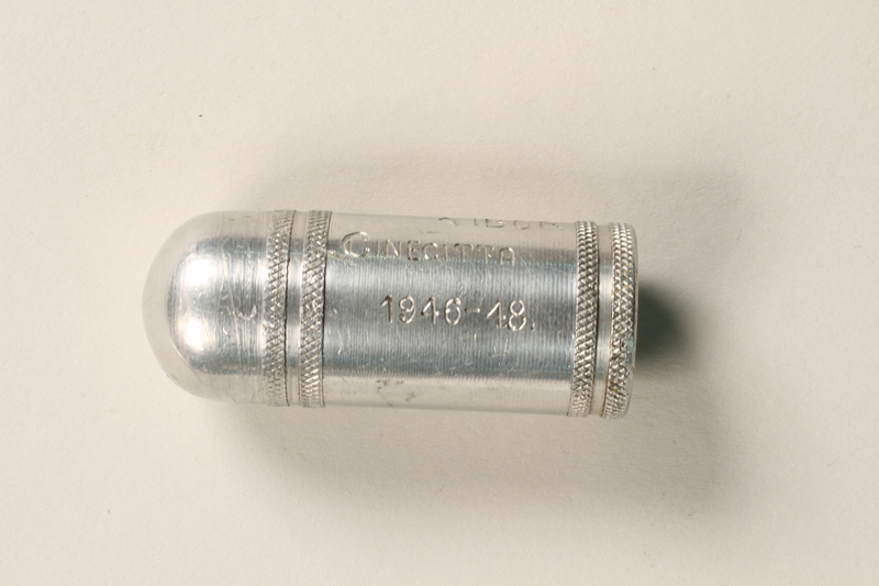 2005.417.2 closed Engraved lighter from a displaced persons camp