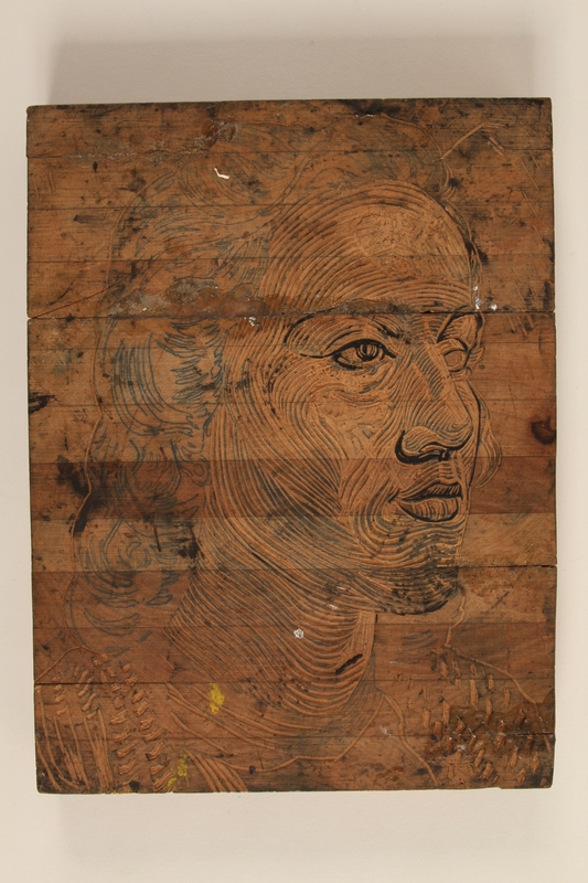 2005.181.145 front Woodblock designed by Alexander Bogen with 2 scenes: a portrait of a woman; on reverse, a man sitting with a rifle