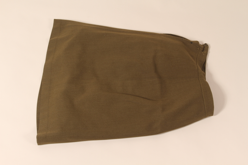 2002.539.2 b front Polish Army uniform skirt, jacket, blouse, collars and tie worn by a nurse