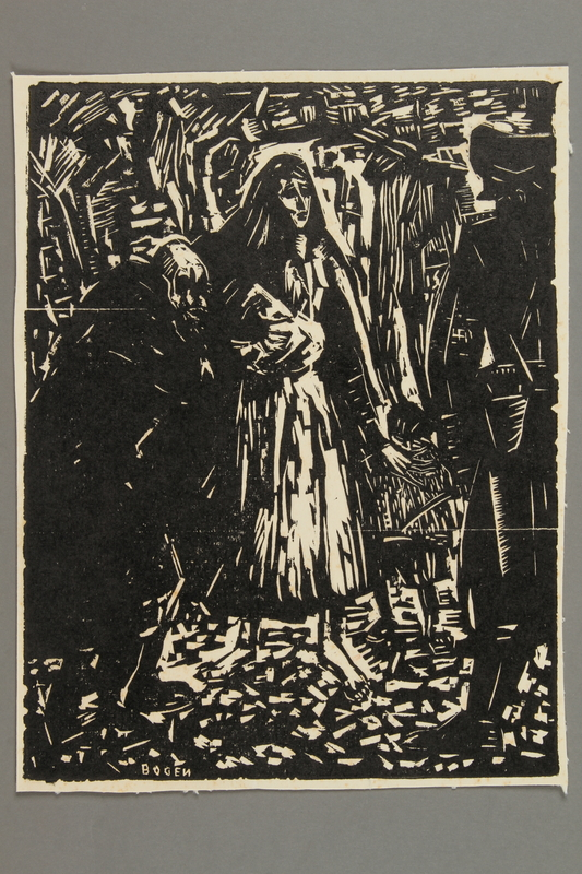 2005.425.2 front Woodcut by Alexander Bogen of residents and a guard in the Vilna ghetto