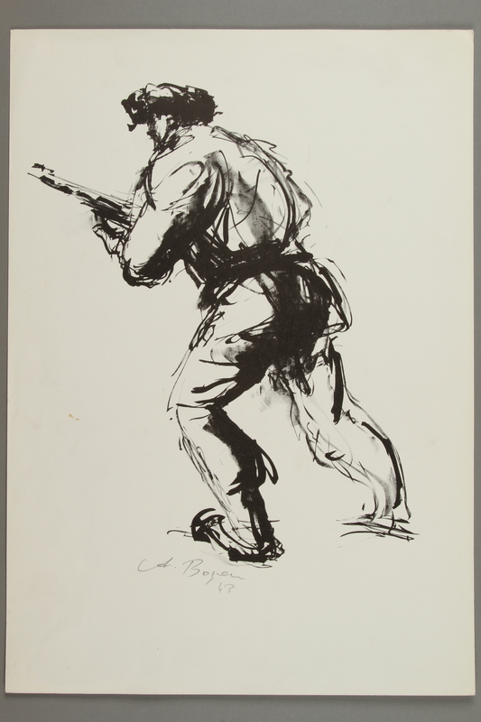 2005.425.3 front Drawing by Alexander Bogen of an armed partisan in fur hat with raised rifle from Vilna