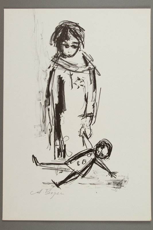 2005.425.4 front Drawing by Alexander Bogen of a young girl wearing a Star of David badge, holding a doll