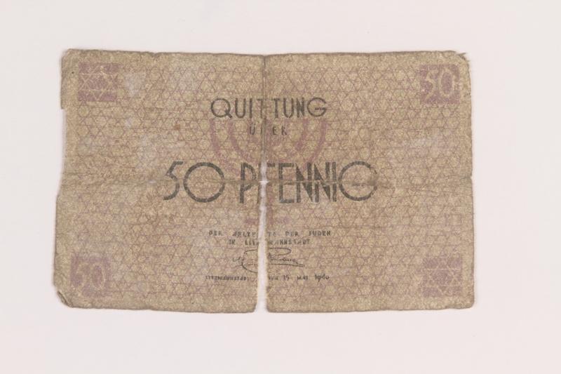 2005.449.1 front Łódź ghetto scrip, 50 pfennig note