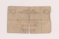 2005.449.1 back Łódź ghetto scrip, 50 pfennig note  Click to enlarge