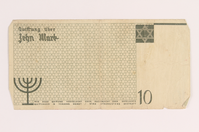2005.450.4 front Lodz ghetto scrip, 10 mark note, given to a survivor searching for relatives