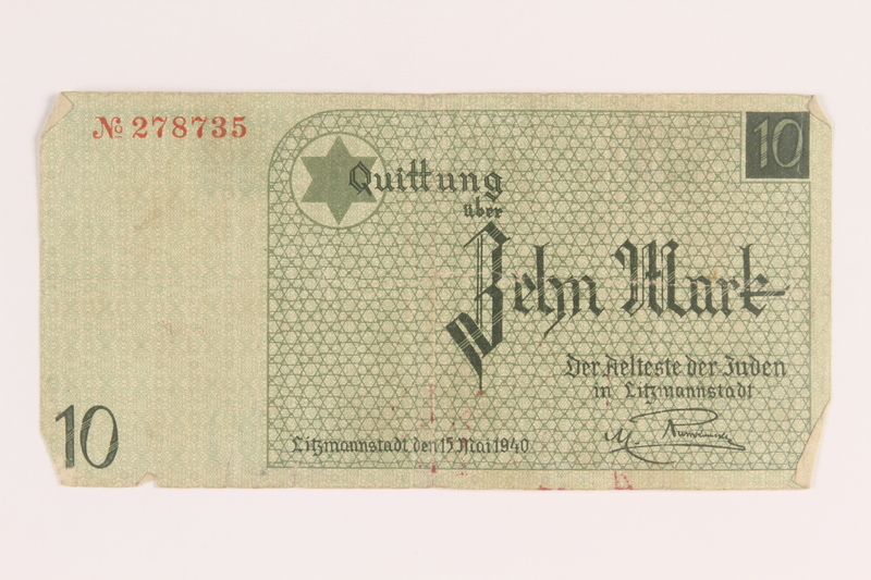 2005.450.4 back Lodz ghetto scrip, 10 mark note, given to a survivor searching for relatives