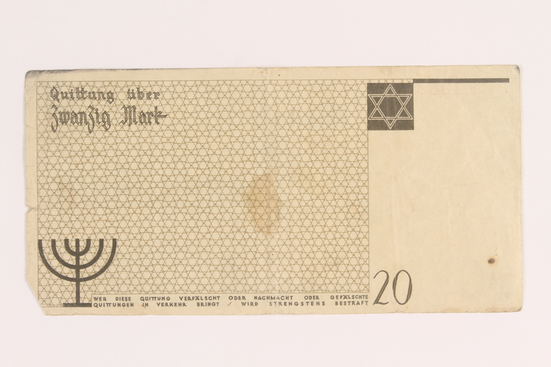 2005.450.5 front Łódź ghetto scrip, 20 mark note, given to a survivor searching for relatives