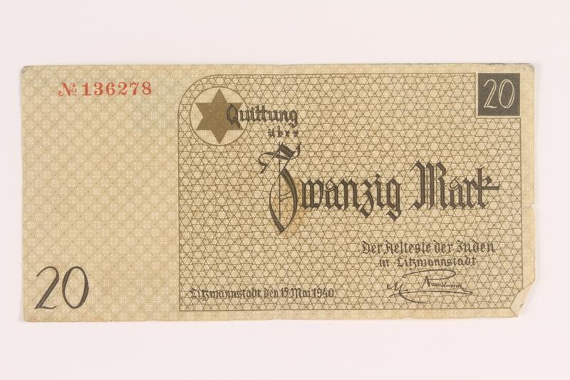 2005.450.5 back Łódź ghetto scrip, 20 mark note, given to a survivor searching for relatives