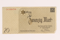 2005.450.5 back Łódź ghetto scrip, 20 mark note, given to a survivor searching for relatives  Click to enlarge