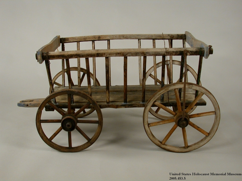 2005.453.5 front Small, hand drawn wooden wagon used by a Sinti family