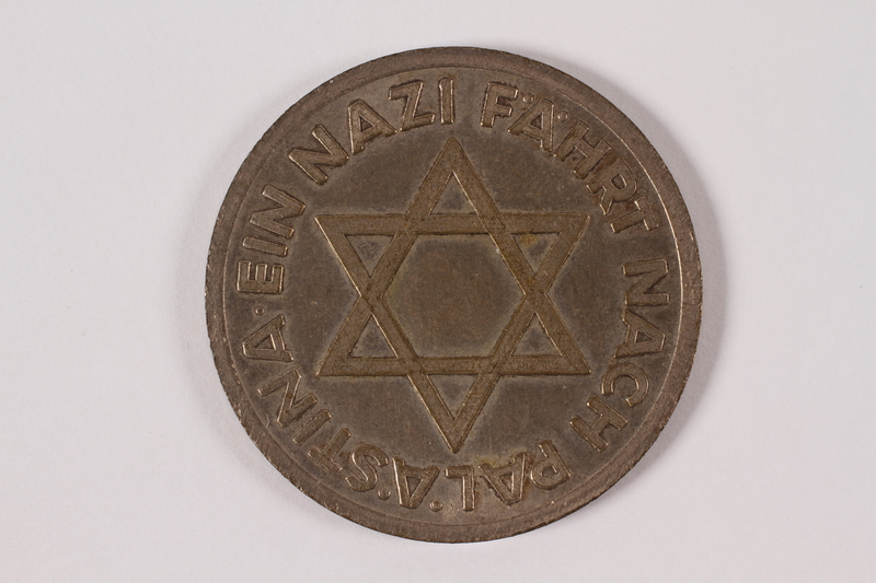 Souvenir Coin With A Swastika And Star Of David Owned By A Young