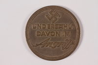 2005.464.1 back Souvenir coin with a swastika and Star of David owned by a young German Jewish girl  Click to enlarge