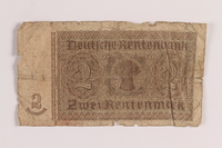 2005.517.41 back Weimar Germany, 2 Rentenmark note saved by an Austrian Jewish refugee  Click to enlarge