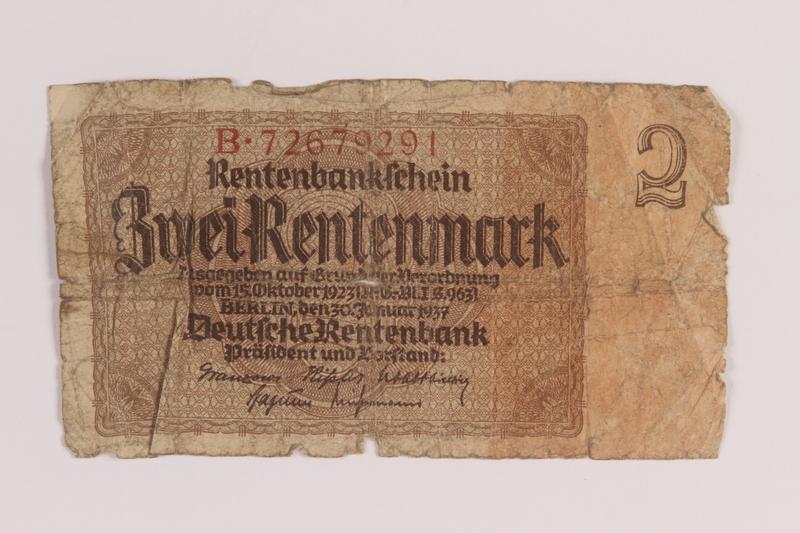 2005.517.41 front Weimar Germany, 2 Rentenmark note saved by an Austrian Jewish refugee